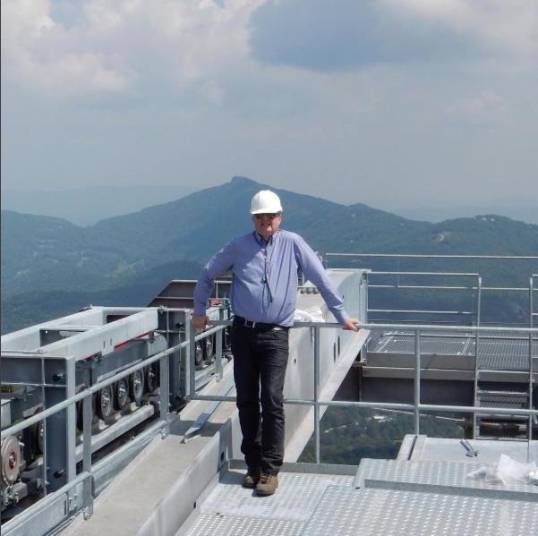 Michael Doppelmayr visits the top station of Sugar's Summit Express. One of his many lift installations around the world.